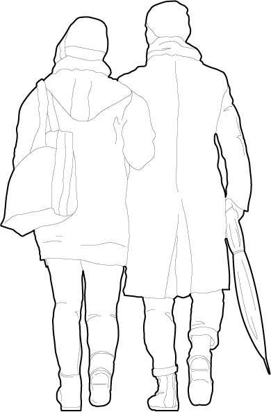 Couple from behind walking away people dwg