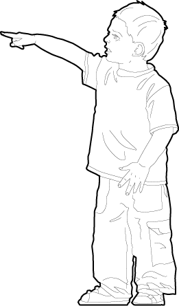 Drawing of a boy pointing silhouette dwg