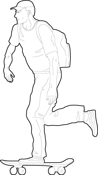 Drawing of a person skateboarding dwg people