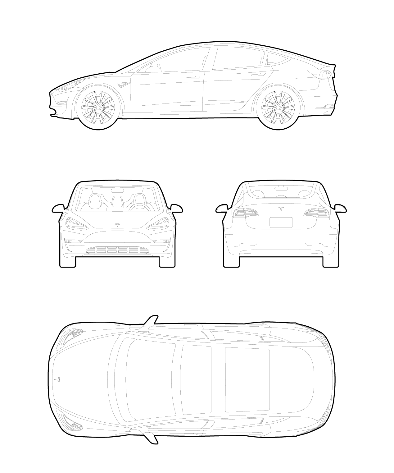 Drawing of a Tesla model 3 cad cars