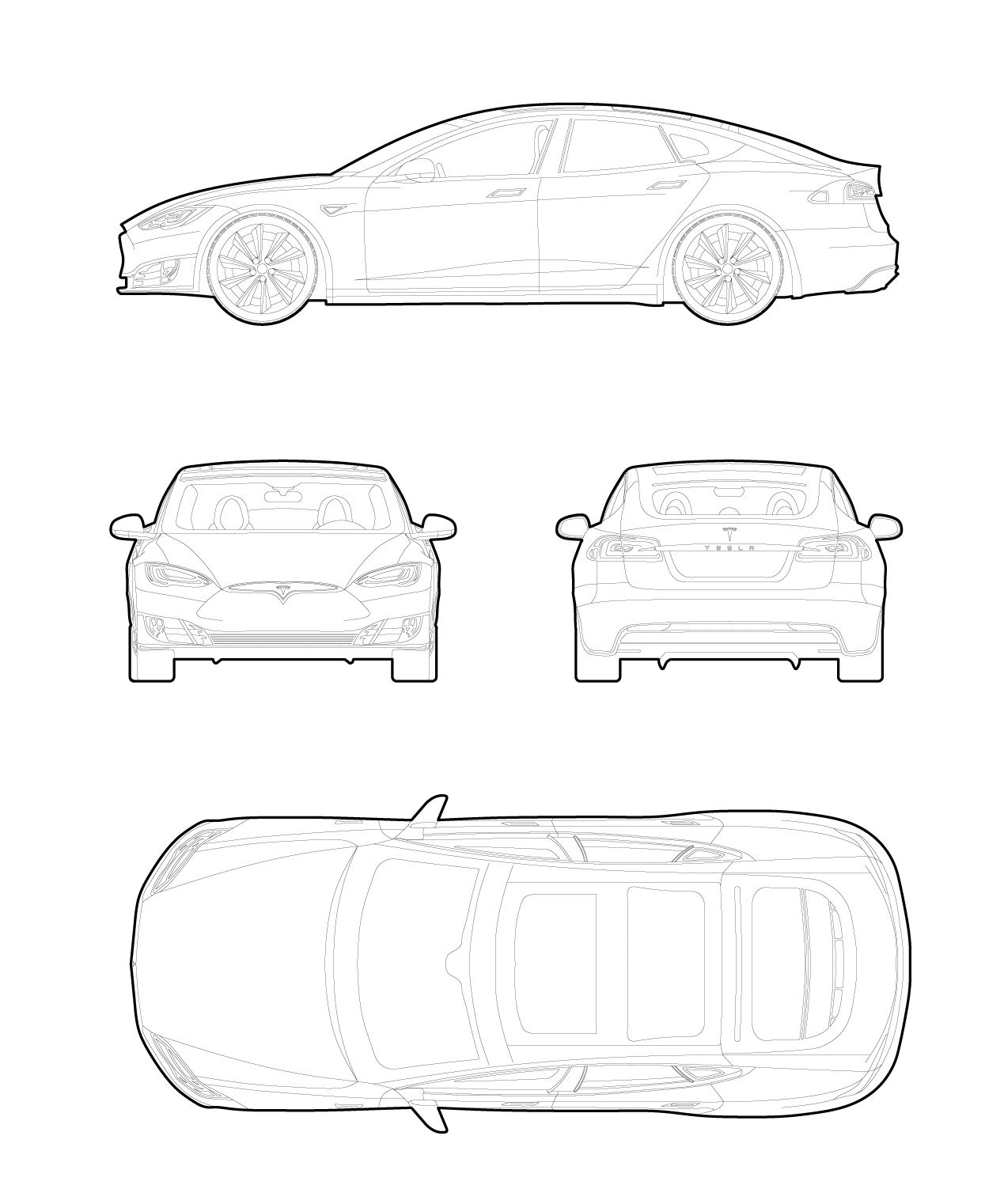 Drawing of a Tesla model S cars dwg