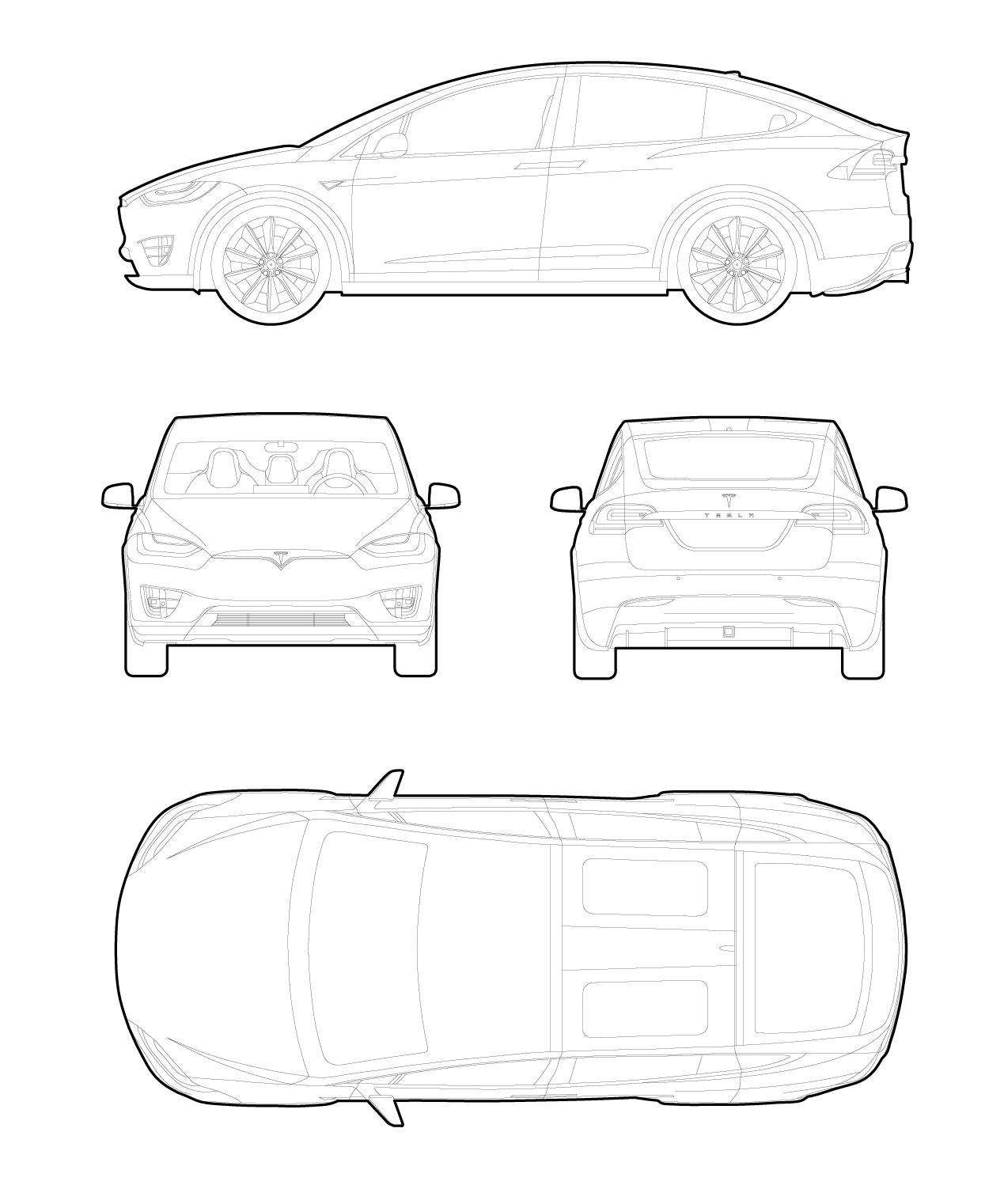Drawing of a Tesla model X cars dwg