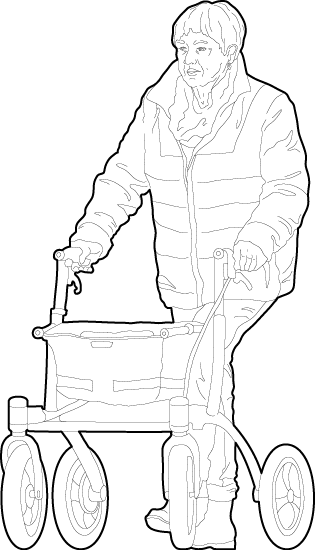 Elderly woman using a rollator cad people