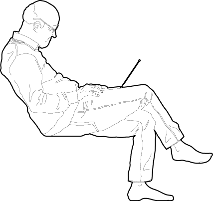Man sitting working from home cad blocks