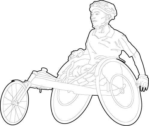 Man using a racing wheelchair cad blocks