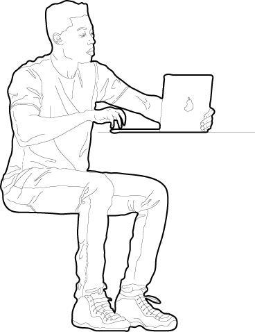Man working on a laptop drawing