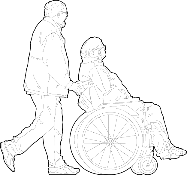 People using a wheelchair 2d people