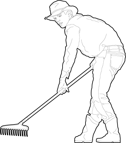 Person raking in the garden silhouette dwg