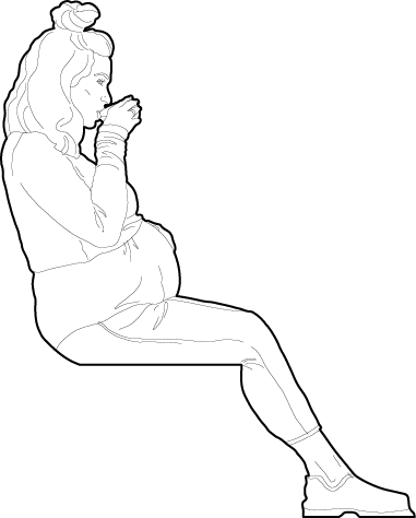 Pregnant woman sitting drawing