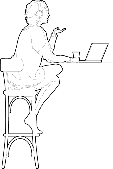 Woman sitting working from home cad people