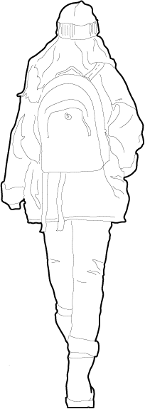Woman with backpack from behind walking away vector persons
