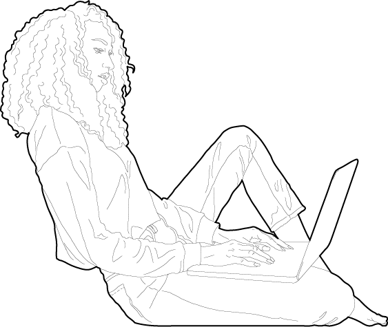 Woman working on a laptop people dwg