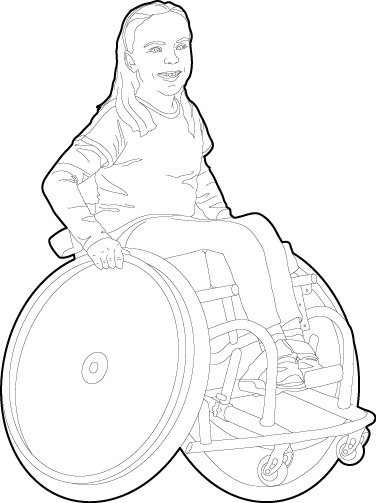Young girl using a wheelchair people dwg